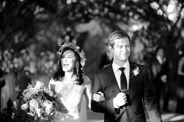 Wedding floral crown on Austin bride by Jenny McCann.